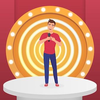 Мужчина певица звезда поет поп-песню с микрофоном, стоя на современной сцене круга с лампами векторные иллюстрации