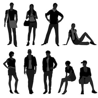 Мужчина женщина женщина модель покупок моды.