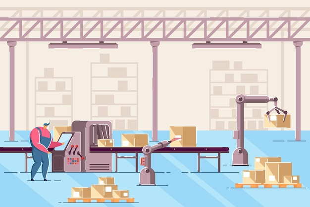 Man managing conveyor in warehouse flat vector illustration. male worker working with line of automatic box packing. guy in room with digital machines. factory, automation manufacture process concept