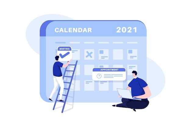予定のイラストの概念のカレンダーの日付をマークする男