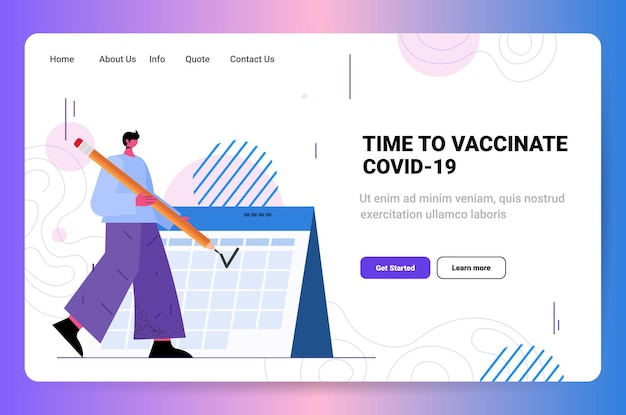 Man in mask standing near calendar time to vaccinate health care and protection medical treatment concept horizontal full length copy space vector illustration