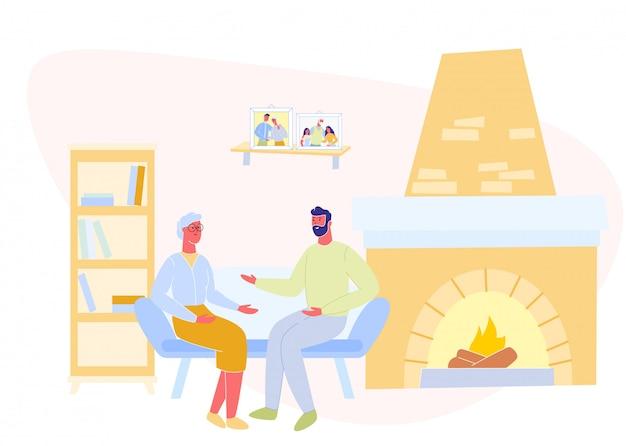 Man and mature mother communicate near fireplace.