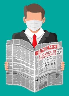Man in medical mask reads newspaper world news about covid-19 coronavirus ncov. pages with various headlines, images, quotes, text and articles. media, journalism and press. flat vector illustration