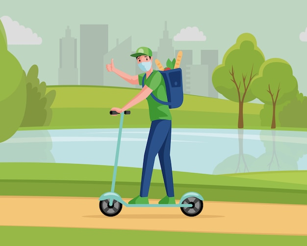 Man in medical mask riding outdoor on scooter and deliver grocery products   cartoon illustration.
