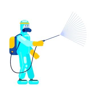 Человек врач в костюме химической защиты дезинфицирует, используйте спрей для очистки и дезинфекции