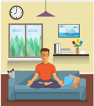 Man meditates in the yoga lotus position in home interior. calm pose, mental balance, harmony, spirituality energy, body exercise sitting. flat .
