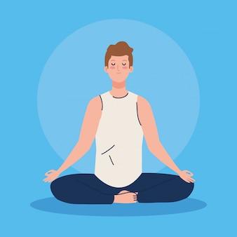 Человек медитирует, концепция для йоги, медитация, отдых, здоровый образ жизни