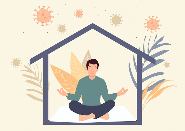 Man meditating during self isolation