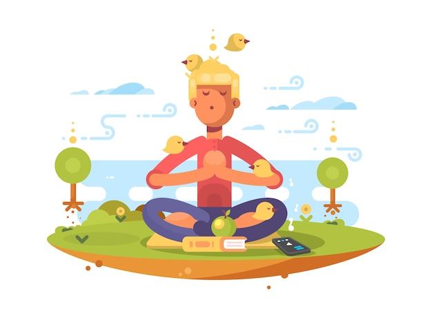 Человек медитирует в парке на лужайке под музыку. иллюстрация