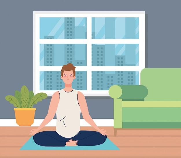Человек медитирует в гостиной
