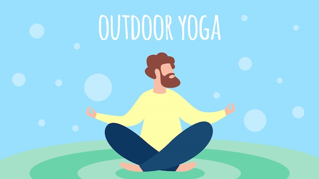 Man meditating outdoor yoga in lotus pose