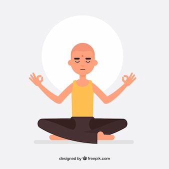 Man meditating with flat design