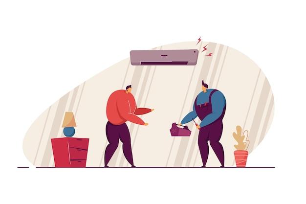 에어컨을 고치기 위해 직원을 만나는 남자. 공기 냉각기 평면 벡터 일러스트레이션에 문제가 있는 남성입니다. 중단, 장비, 수리, 포먼 서비스 개념