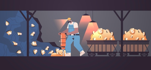 Man miner digging and extracting bitcoins in mine cave mining crypto coins digital cryptocurrency blockchain concept horizontal full length vector illustration