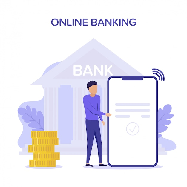男の送金と財布とスマートフォンでの現金の引き出し。オンラインバンキングトランザクション、支払い。 web、ランディングページ、バナーの平らな概念紫イラスト。