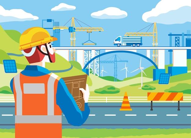 헬멧과 재킷과 같은 안전 장비를 착용하고 다리 건설 현장을 모니터링하는 남자. 건설 현장에는 트럭과 많은 중장비가 있습니다. 웹 이미지, 포스터 및 기타에 사용