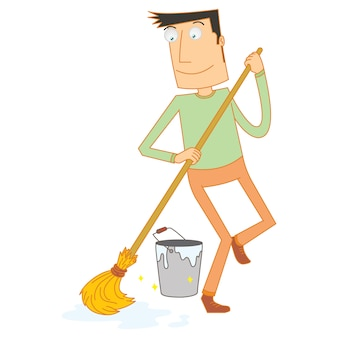 Man mopping floor happily