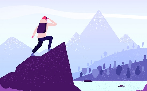 Man in mountain adventure. climber standing with backpack on rock looks to mountain landscape. tourism nature journey  concept