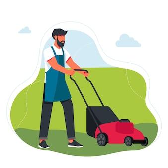 잔디를 깎는 남자. 정원 기계, 장비 및 도구를 사용하는 전문 정원사: 잔디 깎기, 자르기, 다듬기 및 관목. 뒤뜰 조경, 식물 재배, 정원 유지 관리.