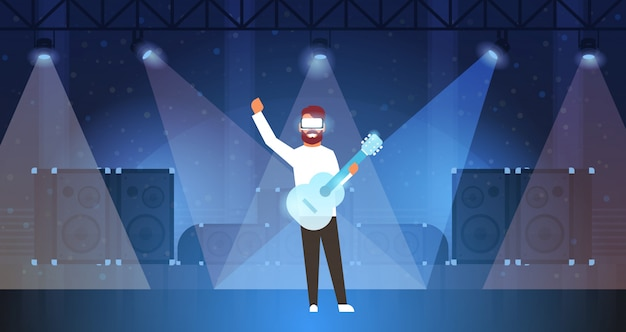 Man music guitarist wear digital glasses playing virtual reality guitar on stage light effects disco dance studio vr vision headset innovation concept flat horizontal