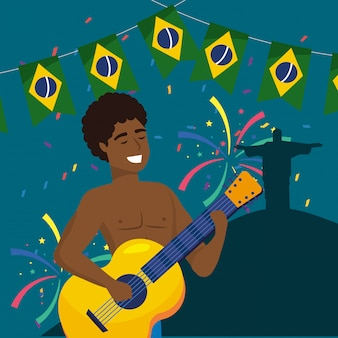 Man musician with guitar and party brazil