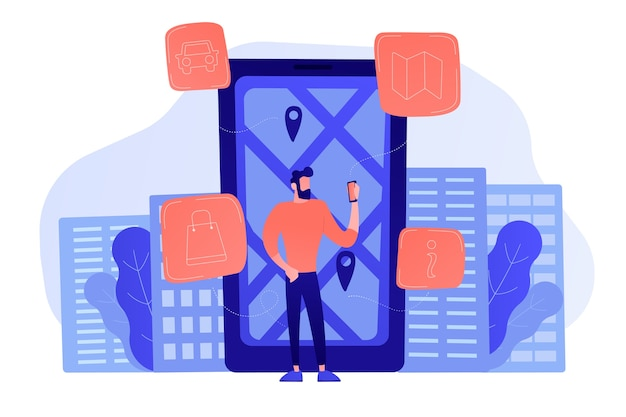 A man near huge lcd screen with city map and gps tags on the screen getting information about the city. mobile center, smart guide, iot and smart city concept. vector illustration.
