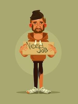 Человеку нужна работа, плоская карикатура