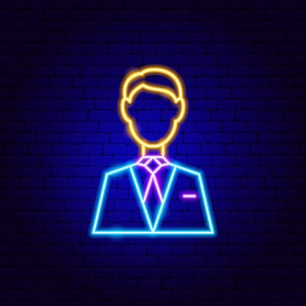 Man neon sign. vector illustration of business promotion.