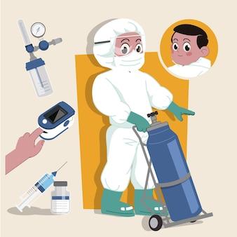Медсестра, одетая в двумерный персонаж hazmat, готова к анимации в комплекте с рабочими инструментами