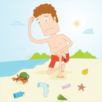 Man observe dirty beach