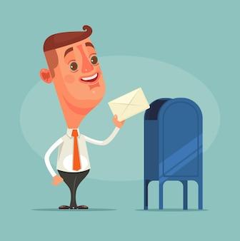 男性サラリーマンキャラクターが郵便ポストから封筒メッセージを受け取りました