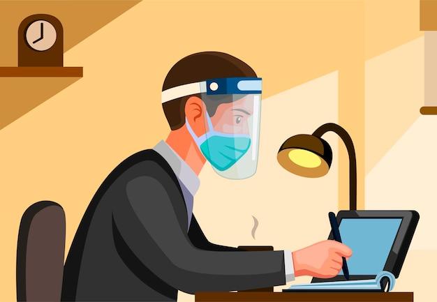 サイドビューからマスクとフェイスシールドを身に着けている男性会社員。背景を持つ漫画イラストの新しい通常の活動シーンで働く人々と勉強