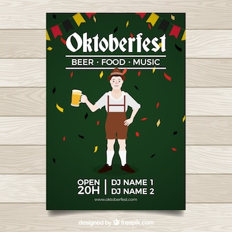 Man at oktoberfest with beer and confetti