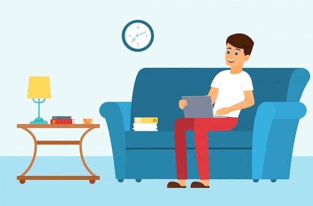 ノートパソコンのイラストが付いているソファーの上の男。