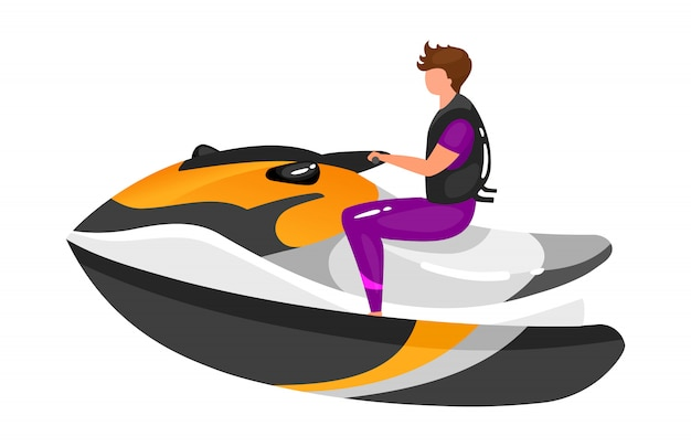 Человек на лодке плоской иллюстрации. опыт экстремальных видов спорта. активный образ жизни. летний отдых на свежем воздухе. спортсмен на катере изолированных мультипликационный персонаж на белом фоне