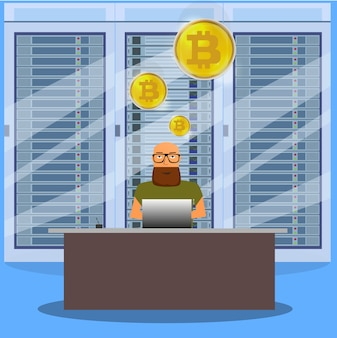 Человек на концепции биткойн добычи компьютера онлайн. биткойн-ферма. золотая монета с символом биткойн в электронной среде.