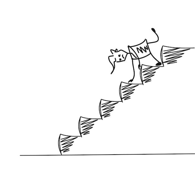 Человек на лестнице вниз, мультфильм рисованной векторный фон.