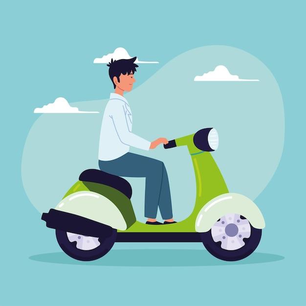 Человек на электрическом мотоцикле