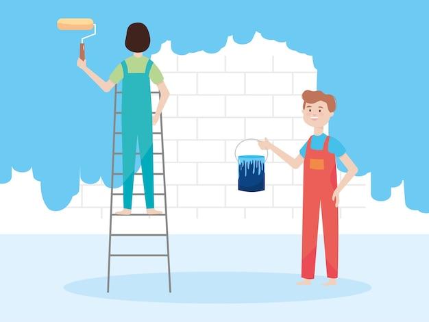 페인트 롤러와 다른 양동이와 사다리에 남자, 벽 리모델링 그림 리모델링