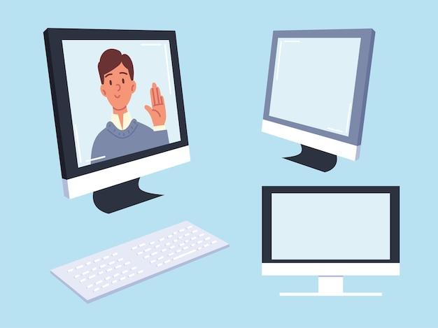 Человек на экране компьютера установлен