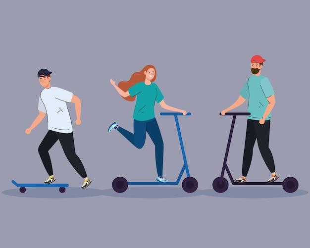 スケートの男とスコッターのデザイン、アウトドアアクティビティのテーマのカップル。