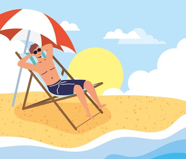 ビーチの夏の休暇シーンの男