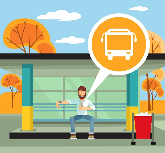 모바일 앱 평면 그림을 사용하는 버스 정류장에 남자