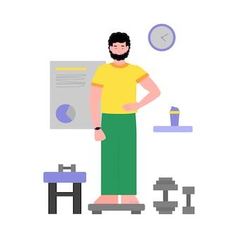피트 니스 중 체중 저울에 남자는 절연 평면 벡터 일러스트 레이 션을 제공