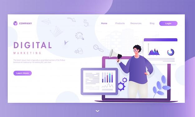 디지털 마케팅 기반의 랜딩 페이지에 대한 정보 그래픽 웹 사이트가있는 노트북의 스피커에서 남자 온라인 발표.
