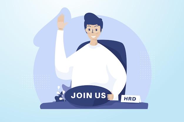 A man open recruitment illustration concept