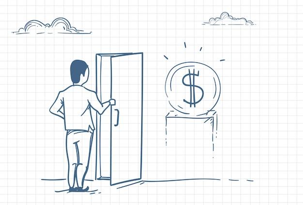 お金を稼ぐためにドアを開ける男