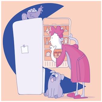 남자는 간식을 찾고 냉장고를 엽니 다