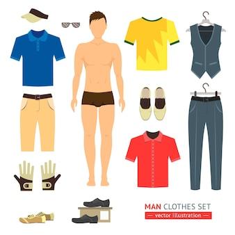 男または少年の服セット。フラットスタイル。