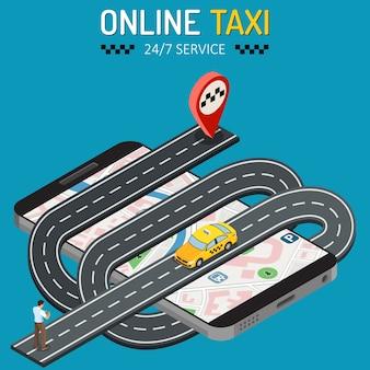 Мужчина заказывает такси со смартфона. концепция обслуживания онлайн-такси 24/7 с людьми, автомобилем, картой и маркером маршрута. изометрические иконки.